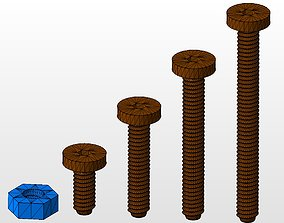 3D printable model M4 screws and nut collection