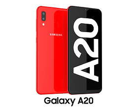 3D model red Samsung Galaxy A20 Red