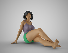 3D printable model Woman Sitting Leaning Back on Hands