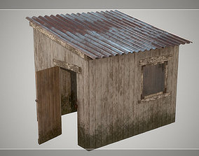 Low Poly Small Wooden Cabin Shed PBR 3D asset