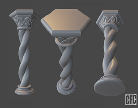 Goth Column - 3d model for CNC - GothColumnCFC07