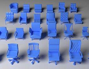 Armchair Pack - 24 Pieces 3D retro