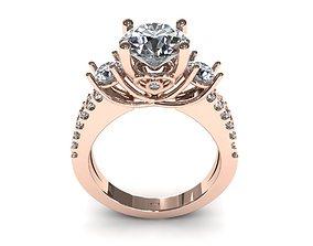 3D printable model Three Diamond Pave Ring
