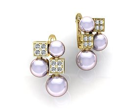 BVLGARI earring with Pearls 3D print model