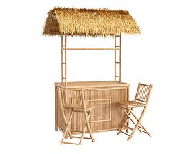 3D Bamboo beach bar tiki