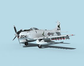 3D model Douglas A-1H Skyraider USN Coral Sea