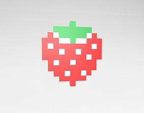 Pixel Strawberries v1 001 3D model