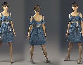 Jeans Dress with Sequin Marvelous Designer and 3ds max 1