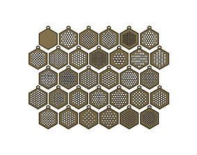 32 Hexagonal pattern pendants with a 3D print model 2