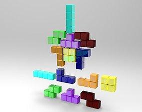 Tetris blocks 3D asset