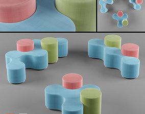 Kids Sitting clusters - Modular 3D asset