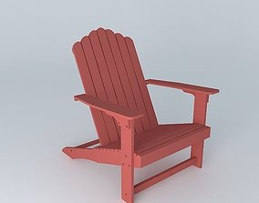 Red Armchair PORTLAND 3D model