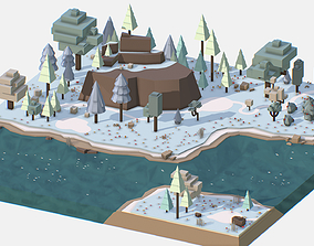 3D model Isometric style winter mountain landscape river