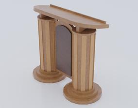 Wooden pulpit rounded corners 3D asset
