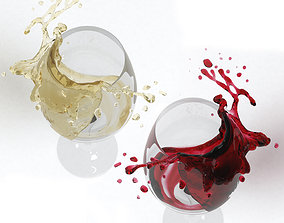 Splash of Wine in a Glass 3D model