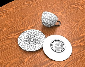 tea Cup -saucer geometry 3D printable model dishes