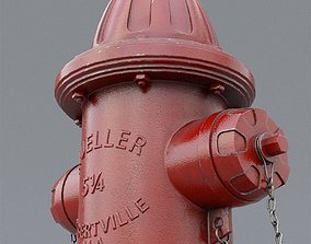 3D model PBR fire hydrant pipe