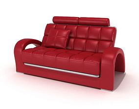 Retro Red Couch With Square Pattern 3D model