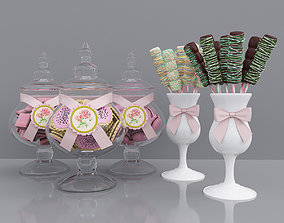3D model Candy jars and marshmallows