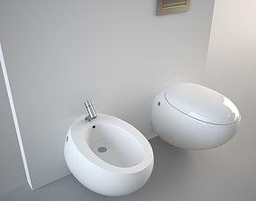 3D asset Wall hung Egg Pod Bidet and Toilet