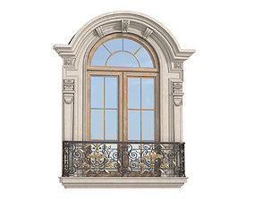 3D model Classical Forged Fence Arc Frame Window