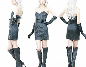 3D asset Hot Girl in Boots and Leather Dress