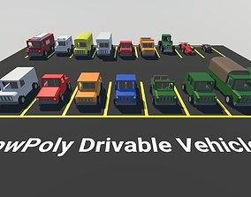3D model Low Poly Drivable Vehicles