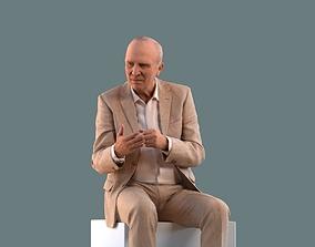 Low poly set of 3D man sitting