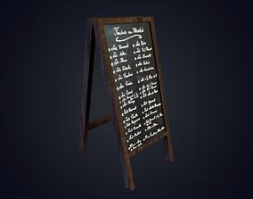 3D asset Restaurant Text Board