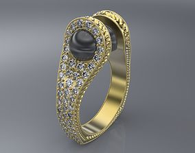Ring with 2 pearl 3D print model