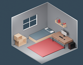 3D asset Low Poly Gaming Room