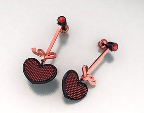 PAVE HEART EARRING 01 3D printable model