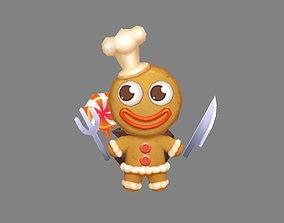 Cartoon Gingerbread Man chef - A fairy tale 3D model
