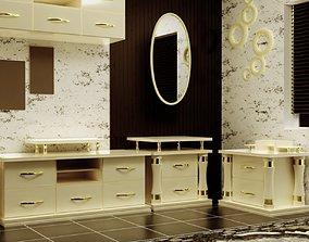 3D model low-poly bedroom Furniture