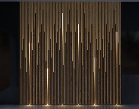 3D model Wood And Brass with Lights Wall Panel