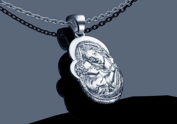 Mother Pendant jewelry Gold 3D print model