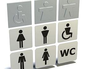 3D model Gray Bathroom Sign