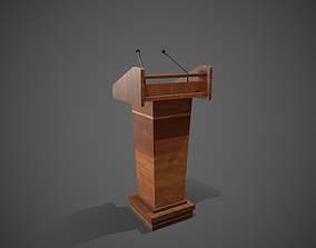 Rostrum Stand with Microphones 3D model
