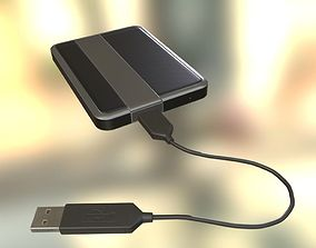 External HDD With USB Cable Rigged Dark Silver 3D model