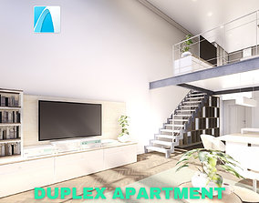 3D Modern Duplex Apartment Scene - Archicad