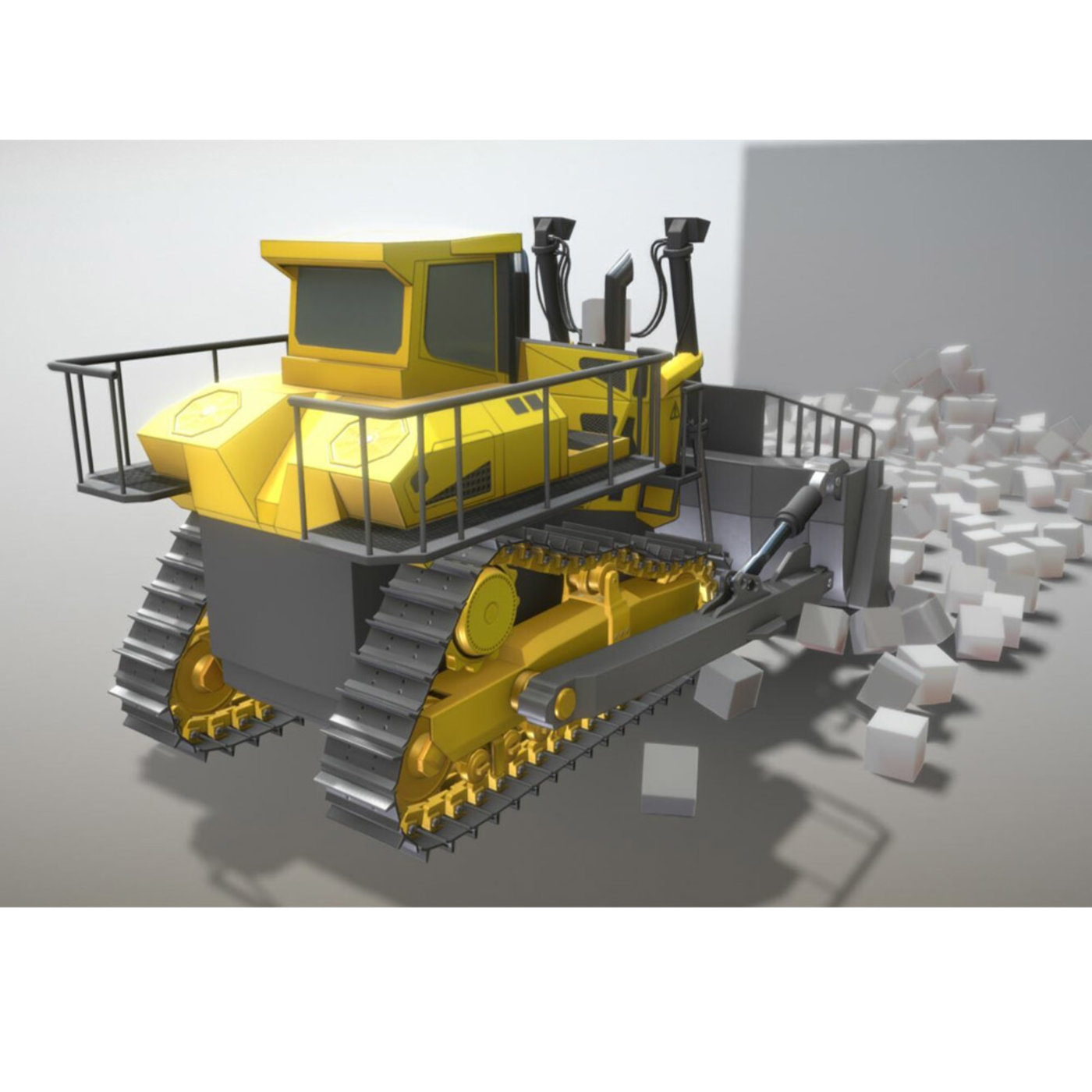 Rigged Bulldozer (Low-Poly)