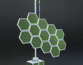 Solar panel planetary colonization space 3D model 2