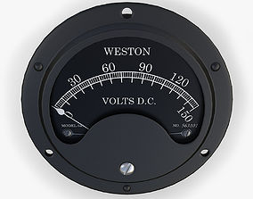 Vintage DC Voltmeter 3D