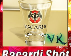 3D Photoreal Bacardi Rum Shot Glass