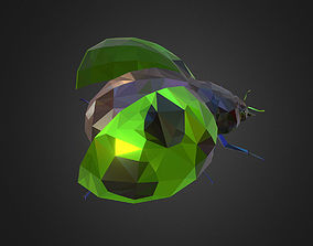 Green Bug Ladybug Low Polygon Art Insect 3D asset