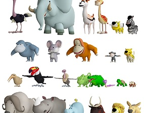low poly animals pack 3d model VR / AR ready