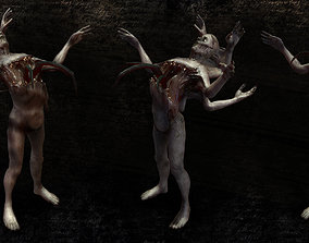 3D model Creepy monster mutated man The thing