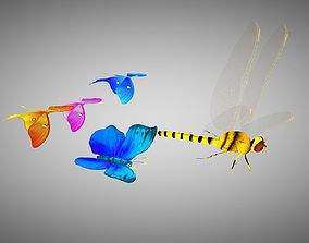 3D model Animated dragon fly and butterfly