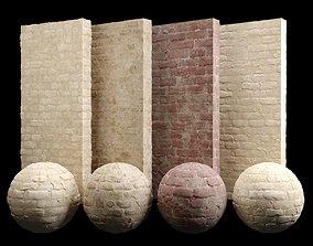 Desert Limestone Brick Tiles Material PBR 200 x 3D model 1