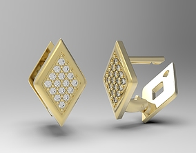 3D printable model Geometric earrings with diamonds Lucia